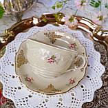 Антикварная фарфоровая чайная двойка, немецкая чашка и  блюдце, Porzellanfabrik Carl Schumann, Германия фарфор, фото 6