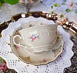 Антикварная фарфоровая чайная двойка, немецкая чашка и  блюдце, Porzellanfabrik Carl Schumann, Германия фарфор, фото 7