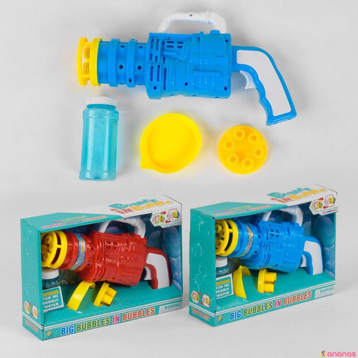 Автомат с мыльными пузырями 75-3 (48/2) 2 насадки, на батарейках, 2 цвета, в коробке