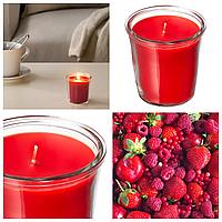 Ароматическая свеча в стакане IKEA SMÅTREVLIG 7 см х 20 часов горения декоративная ягодная ИКЕА СМОТРЕВЛІГ