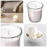 Ароматическая свеча в стакане IKEA SMÅTREVLIG 7 см х 20 часов горения декоративная ванильная ИКЕА СМОТРЕВЛІГ