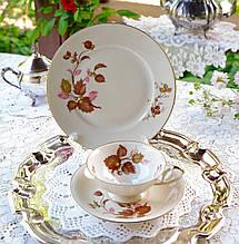 Немецкая чайная тройка, фарфоровая чашка, блюдце и десертная тарелка,AL-KA Kunst Alboth & Kaiser, Германия