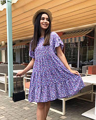 Платье летнее NOBILITAS 42 - 52 сиреневое штапель (арт. 21020)
