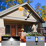 Уличный фонарь-прожектор на солнечной батарее с датчиком движения настенный 10 COB 120 диодов с пультом, фото 9