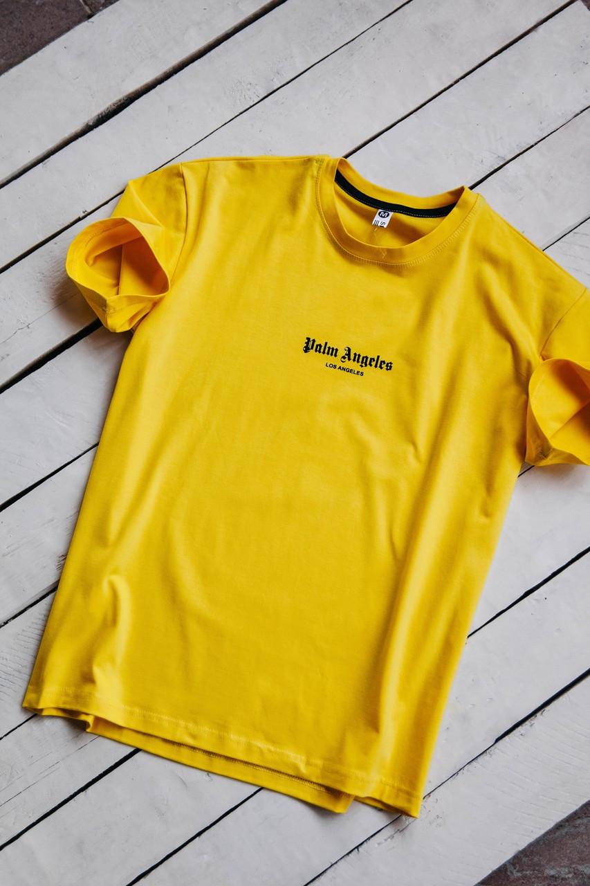 Мужская футболка с надписью на груди из хлопка / Стильная мужская футболка желтая Palm Angels