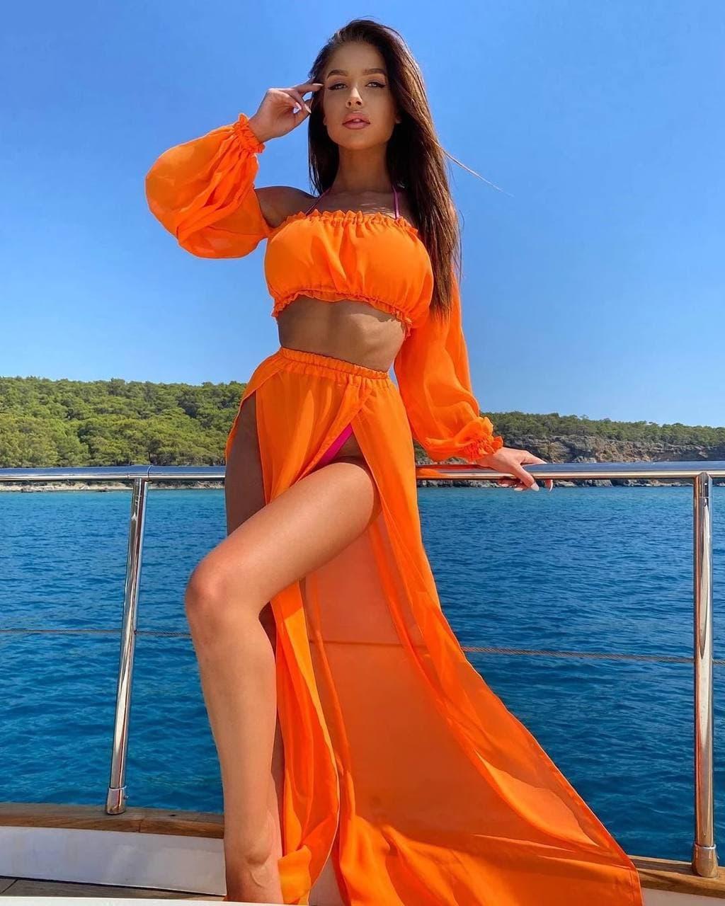 Женский летний шифоновый костюм в оранжевом цвете