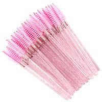 Щеточки нейлоновые для ресниц и бровей розовые с блестками, 50 шт