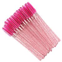 Щеточки нейлоновые для ресниц и бровей малиновые с блестками, 50 шт