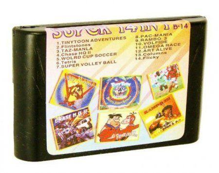 Картридж Збірник ігор Sega 14 в 1 B14 Tiny Toon/Flintstones/Tazmania/Chase Hq...