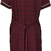 Жіночий халат подовжений 6XL-9XL бордовий в клітку на блискавці з коротким рукавом батал, фото 5