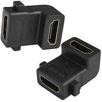 Переходник, гнездо HDMI - гнездо HDMI, угловой, gold (Тип 1)