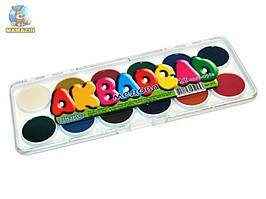 Акварель медова, 12 кольорів, міні, пластикова упаковка, Люкс Колор