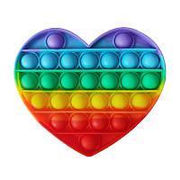 Pop it сенсорная игрушка антистресс «Сердце радуга», поп ит пупырка шарики