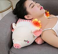 Массажная подушка Piggy с 20 массажными роликами, прогревом и таймером.