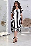 Новинка! Модна сукня вільного крою, є батал, арт. А5427 колір смужка