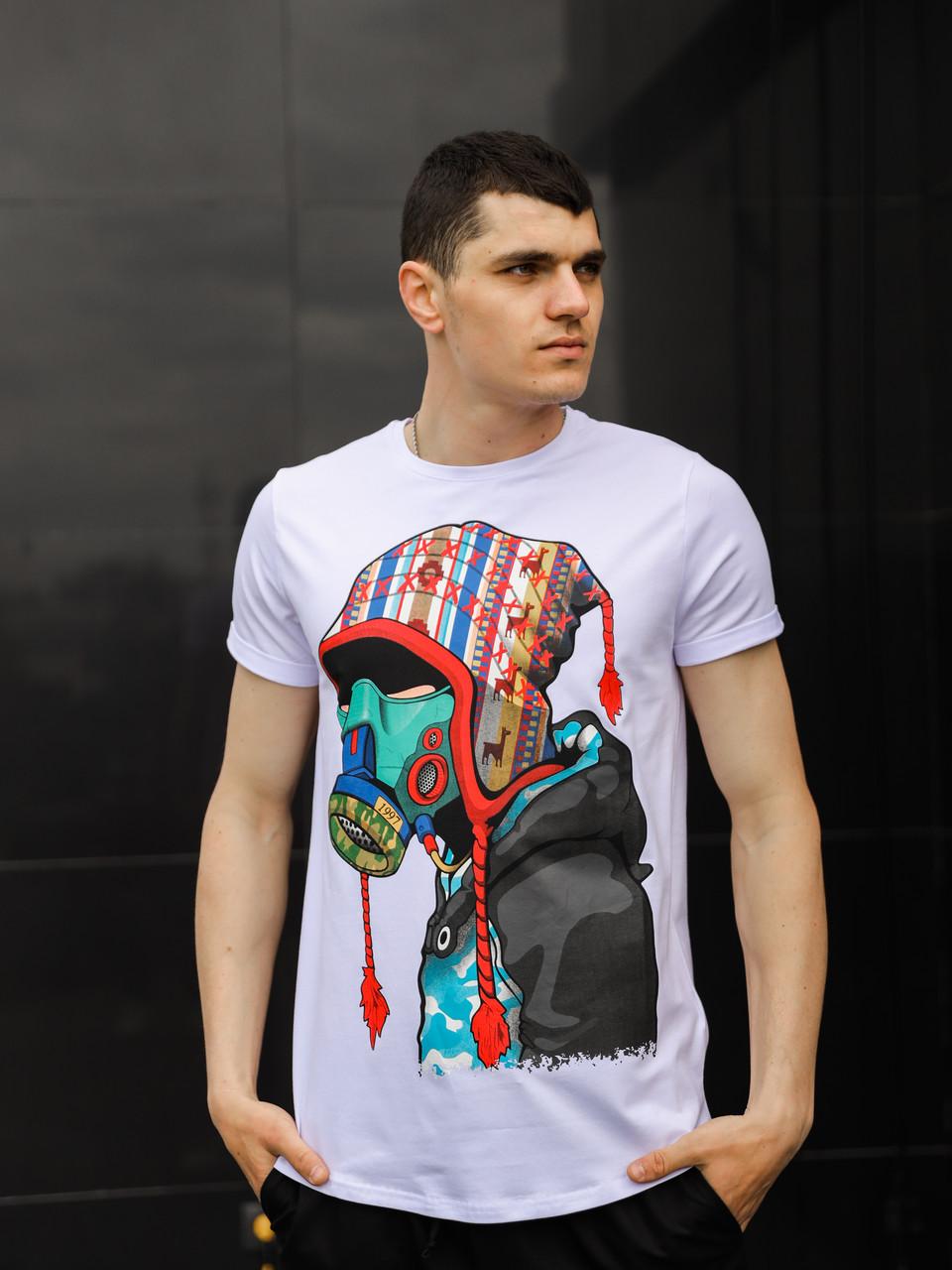 Чоловіча футболка біла з накатом на грудях / Якісна і стильна чоловіча футболка