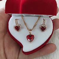 """Набор серьги и колье из медицинского золота """"Рубиновые сердечки """" - солидный подарок в футляре для девушки"""