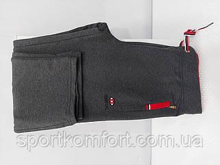 Жіночі спортивні прогулянкові штанці TOMMY LIFE Туреччина сірий меланж з червоною обробкою розміри з л 2хл