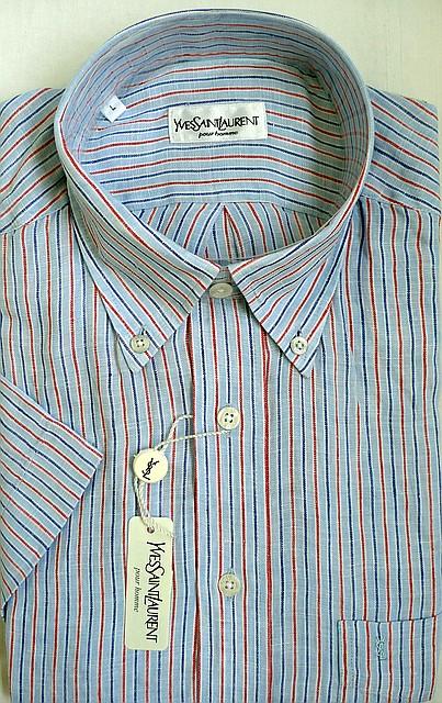 Рубашка лен голубого цвета в тонкую полоску