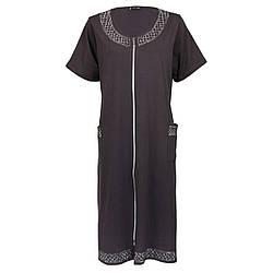 Жіночий халат 6XL-9XL темно коричневий зі стразами на блискавці з коротким рукавом батал
