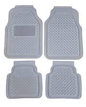 Авто килимки резинові універсальні! Килимки в салон автомобіля (комплект 4 шт.) Сірий. 6977