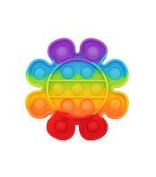 Pop it сенсорная игрушка антистресс «Цветок радуга», поп ит пупырка шарики