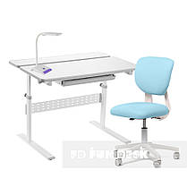 Комплект для школяра парта-трансформер Fundesk Colore Grey + крісло Fundesk Buono Blue, фото 2