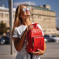 Женский рюкзак Calvin Klein с экокожи,женская сумка кожзам, модный городской рюкзачок для девушек красный