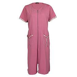 Жіночий халат рожеве зі стразами і рюшами на блискавці з коротким рукавом батал