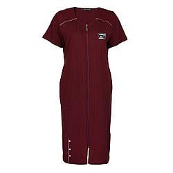 Легкий смугастий халат р. 2XL-5XL для весни і літа на блискавці DI Color №6416 бордо