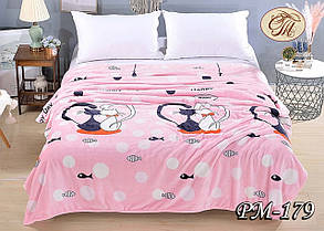 """Стильний рожевий флісовий плед покривало на ліжко """"Котики"""" Подвійний розмір"""
