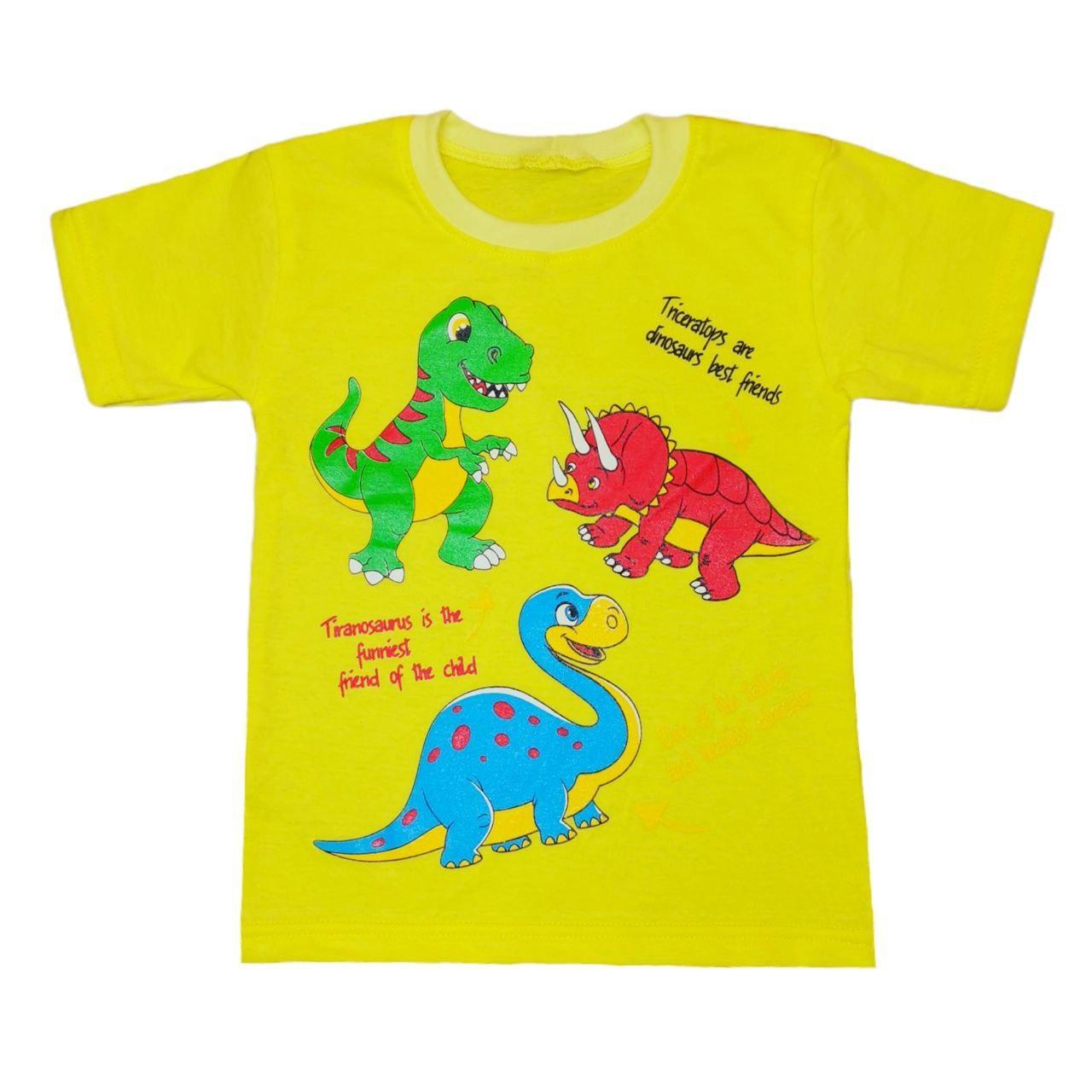 Футболка детская для мальчика с принтом Динозаврики кулир