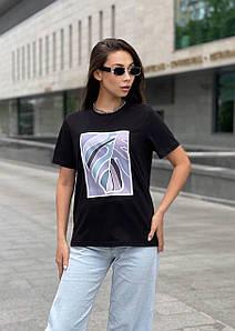 Женская футболка с рисунком тропического листа 42-48 р