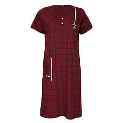 Жіноче домашнє плаття в клітку DI Color №6320, р. 2XL-5XL бордовий