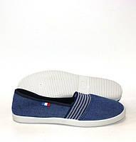 Чоловічі джинсові темно сині кеди, фото 1