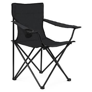 Стілець-крісло туристичний розкладний в чохлі для риболовлі, пікніка, кемпінгу 80х40х40 см кол.чорний (СР-08)
