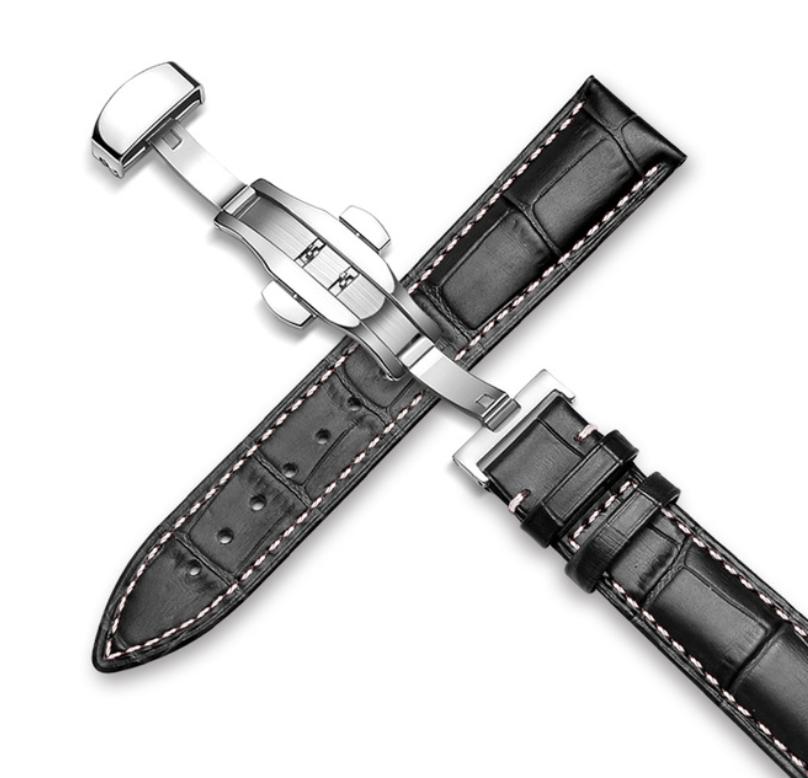 Шкіряний ремінець для годинника. Біла прострочки. Якість. 22 мм