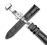 Шкіряний ремінець для годинника. Біла прострочки. Якість. 22 мм, фото 1
