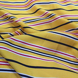 Ткань штапель принт полоска yellow