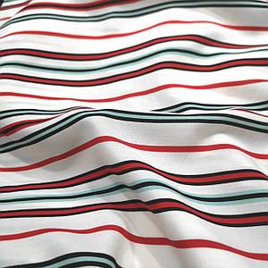 Ткань штапель принт полоска red