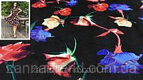"""Ткань велюр цвет черный """"Цветы радуги"""""""