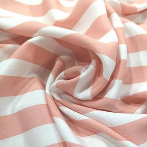 Ткань штапель принт полоска 2см