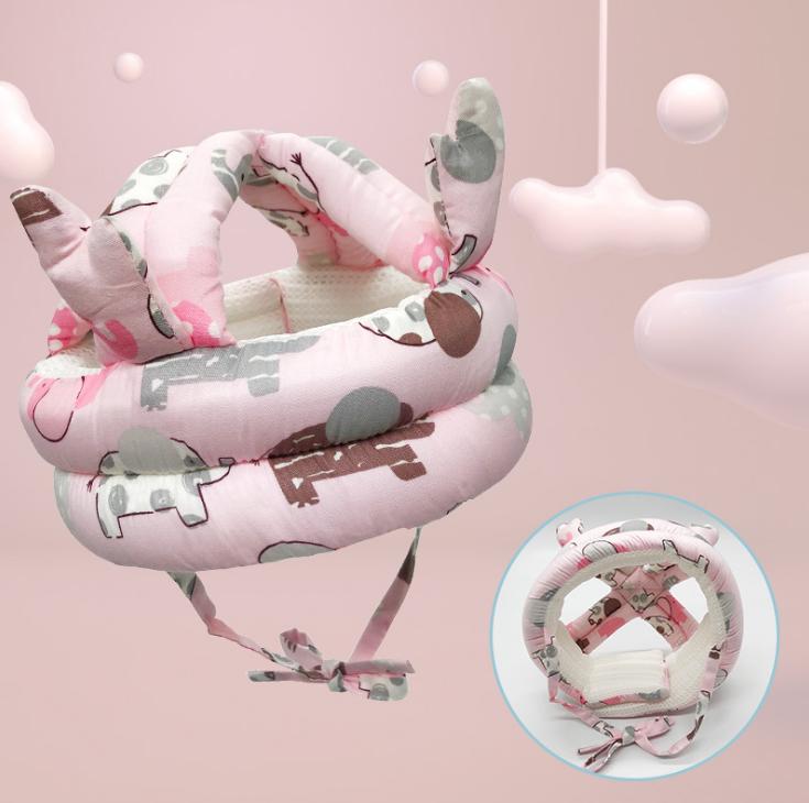 Детский шлем противоударный  Розовый со слониками