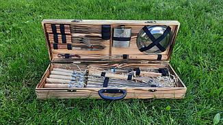 Набір з 6 шампурів для м'яса (650х10х3 мм) + комплект для гриля і барбекю в дерев'яному кейсі