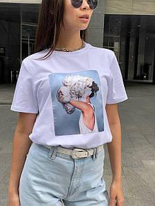Стильная футболка с рисунком девушки и цветка 42-48 р