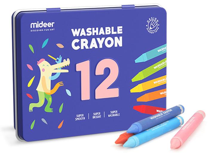 Воскові змиваються олівці Mideer у залізній коробці 12шт