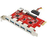 Контроллер PCI-E x1 to 7 x USB 3.0 TRY с доп. питанием SATA новый