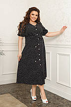 Літнє плаття міді пояс на кулісі для фіксації талії робочі гудзики по всій довжині, фото 2