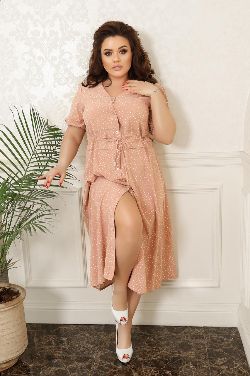 Літнє плаття міді пояс на кулісі для фіксації талії робочі гудзики по всій довжині