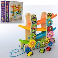 Дерев'яна іграшка Трек MD 2594 машинки 3шт., шестерінки, кор., 30,5-26-10см.